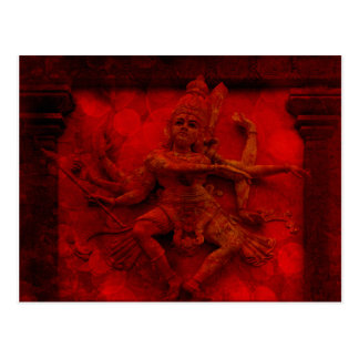 Nataraj Dancing Shiva Wall Relief Statue Red Grung Postcard