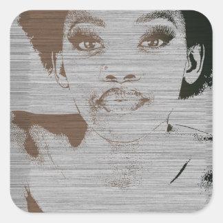 Natasha Brown Square Sticker