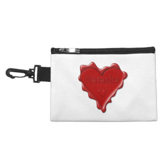 Natasha. Red heart wax seal with name Natasha Accessory Bag