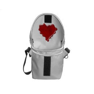 Natasha. Red heart wax seal with name Natasha Courier Bag