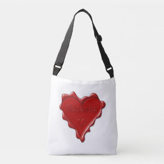 Natasha. Red heart wax seal with name Natasha Crossbody Bag