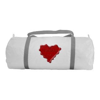 Natasha. Red heart wax seal with name Natasha Duffle Bag