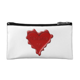 Natasha. Red heart wax seal with name Natasha Makeup Bag