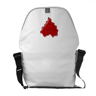 Natasha. Red heart wax seal with name Natasha Messenger Bag