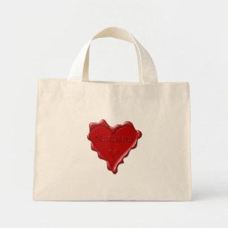 Natasha. Red heart wax seal with name Natasha Mini Tote Bag