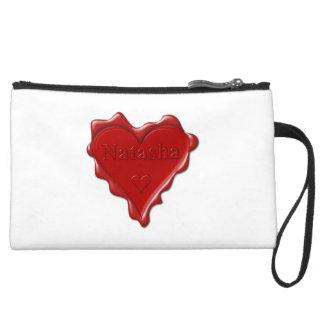 Natasha. Red heart wax seal with name Natasha Suede Wristlet Wallet