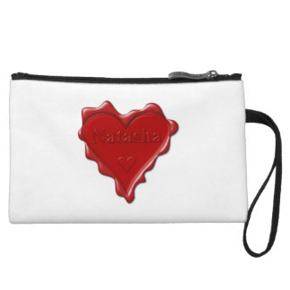 Natasha. Red heart wax seal with name Natasha Wristlet Wallet
