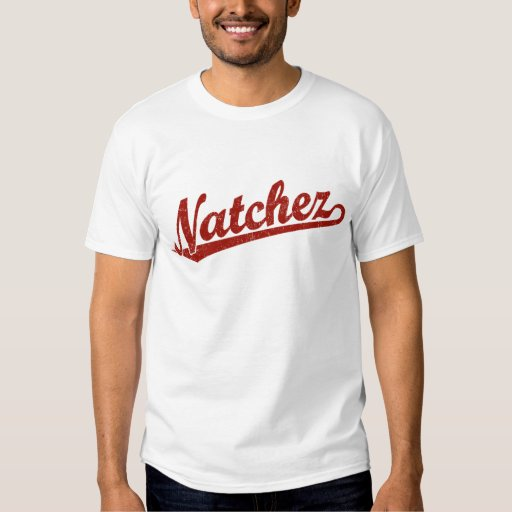 Natchez script logo in red distressed t shirts
