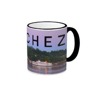 NATCHEZ ~ Under The Hill Riverboat Sunset Ringer Mug