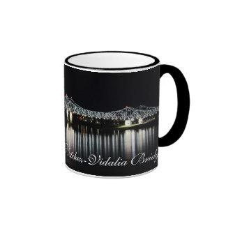 Natchez-Vidalia Bridge at Night Ringer Coffee Mug