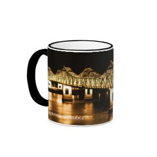Natchez-Vidalia Bridge - Golden glow Ringer Coffee Mug