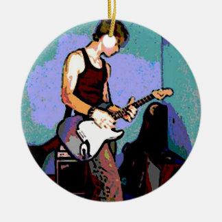 Nate y guitarra adorno navideño redondo de cerámica