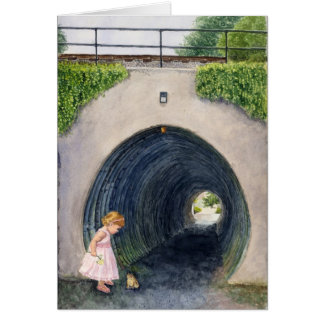 Nathalie at the Railroad Tunnel Greeting Card