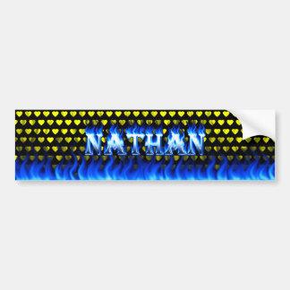 Nathan blue fire and flames bumper sticker design car bumper sticker