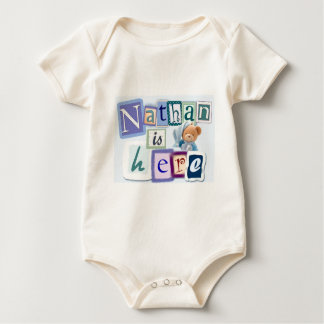 Nathan is here baby bodysuit