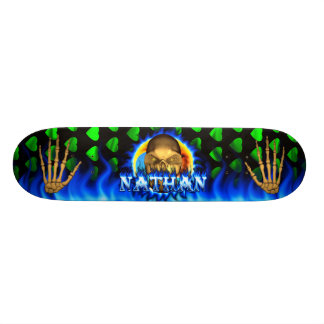 Nathan skull blue fire Skatersollie skateboard