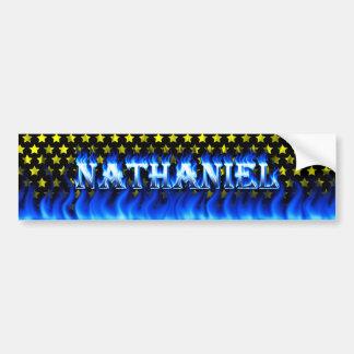 Nathaniel blue fire and flames bumper sticker desi