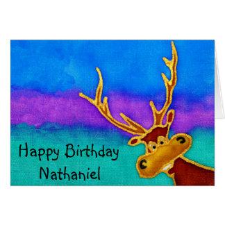 Nathaniel, Happy Birthday silly stag card