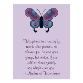 Nathaniel Hawthorne Butterfly Happiness Postcard