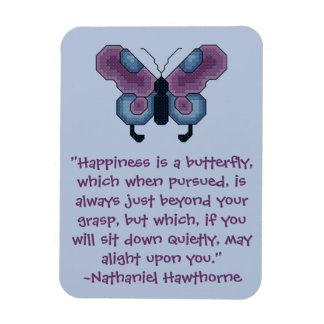 Nathaniel Hawthorne Butterfly Happiness Quote Magn Rectangular Photo Magnet