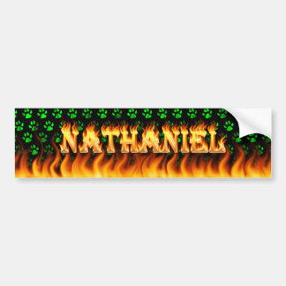 Nathaniel real fire and flames bumper sticker desi