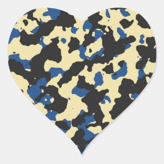 Natillas - impresión azul clásica PANTONE del Pegatina En Forma De Corazón