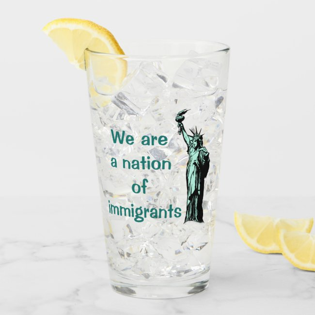 Nation of Immigrants Green Glass Tumbler