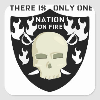 Nation on Fire skull and sword football print Stickers