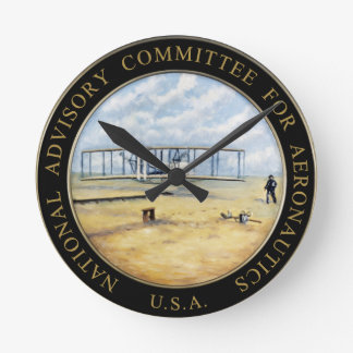 National Advisory Committee for Aeronautics Logo Round Clock