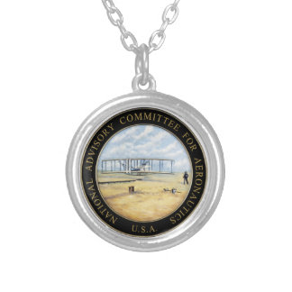 National Advisory Committee for Aeronautics Logo Silver Plated Necklace