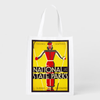 National and state parks, skiing - Dorothy Waugh Grocery Bag