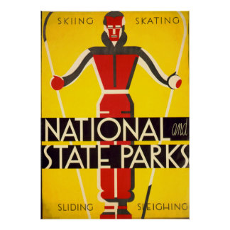 National And State Parks Skiing Dorothy Waugh WPA Poster