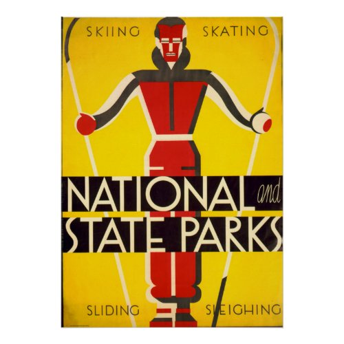 National And State Parks Skiing Dorothy Waugh WPA