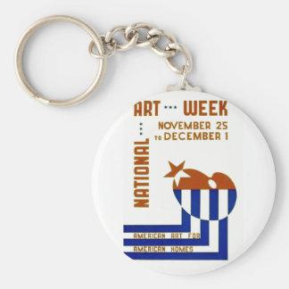National Art Week  - WPA Poster - Basic Round Button Keychain