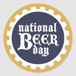 National Beer Day Classic Round Sticker