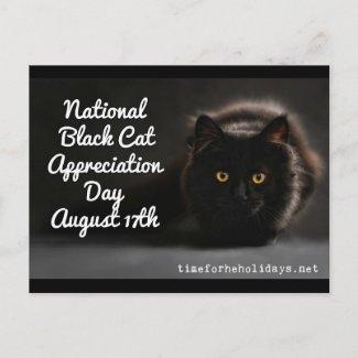 National Black Cat Day Holidays Postcard
