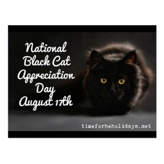 National Black Cat Day Holidays Postcard