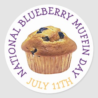 National Blueberry Muffin Day July Magnet Classic Round Sticker