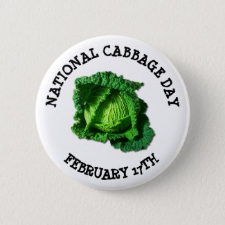 National Cabbage Day February 17th Holiday Button
