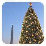 National Christmas Tree and Washington Monument Square Sticker