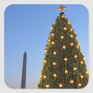 National Christmas Tree and Washington Monument Square Sticker