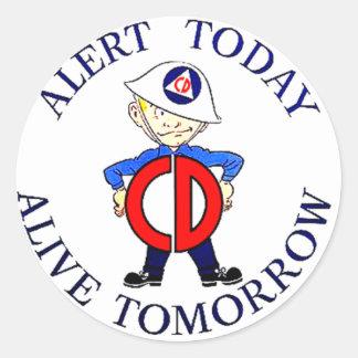National Civil Defense Week Round Sticker