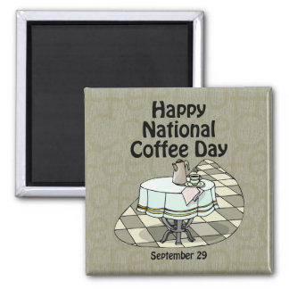 National Coffee Day September 29 2 Inch Square Magnet