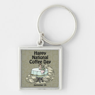 National Coffee Day September 29 Keychain