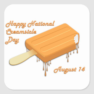 National Creamsicle Day August 14 Square Sticker