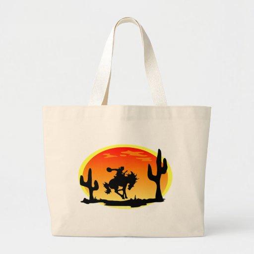 National Day of the Cowboy Bronco Silhouette Jumbo Tote Bag