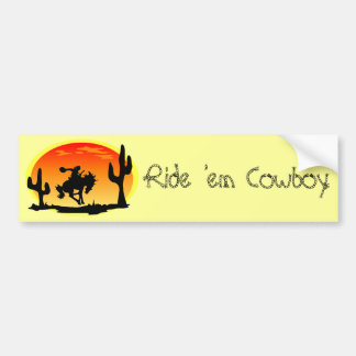 National Day of the Cowboy Bronco Silhouette Bumper Sticker