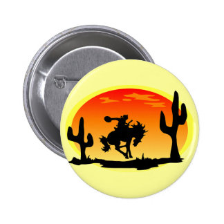 National Day of the Cowboy Bronco Silhouette Button
