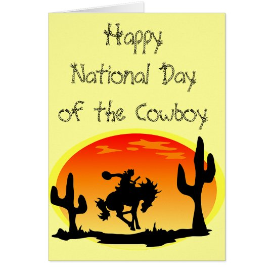 National Day of the Cowboy Bronco Silhouette Card