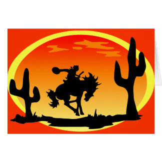 National Day of the Cowboy Bronco Silhouette Greeting Cards